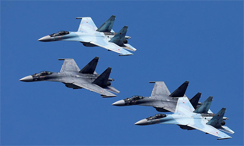 Su-35 fighter aircraft flying in Krasnoyarsk, Russia on 1 August. Photo: Reuters.