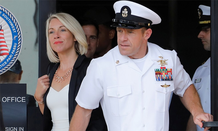 Eddie Gallagher and his wife Andrea Gallagher left the court at the San Diego naval base after the February 7 hearing. Photo: Reuters.