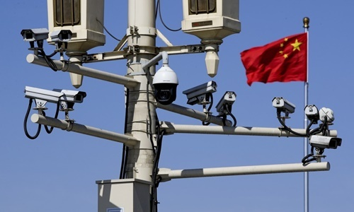 Surveillance camera system on the streets of Beijing, China, March. Photo: AP.