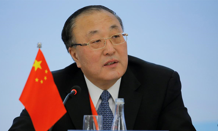 Chinese Ambassador to the United Nations Truong Quan in Beijing on January 30. Photo: Reuters.