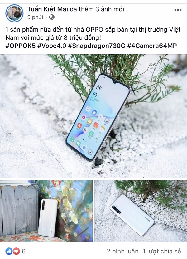 "Sforum - OPPO K5 mtk latest technology information page with Snapdragon 730G chip, VOOC 4.0 fast charging, 4 64MP cameras with ""shocking"" price in Vietnam"