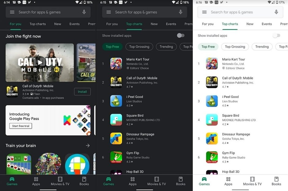 Dark theme comes to the Google Play Store. Hallelujah - This core Google app finally gets Dark theme on more phones running Android 10
