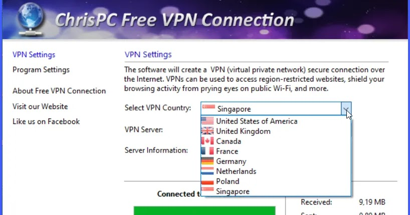 ChrisPC Free VPN Connection: Browse anonymously through VPN networks