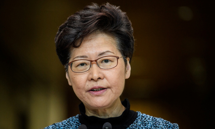 Hong Kong Chief Executive Carrie Lam spoke at a press conference on October 29. Photo: AFP.