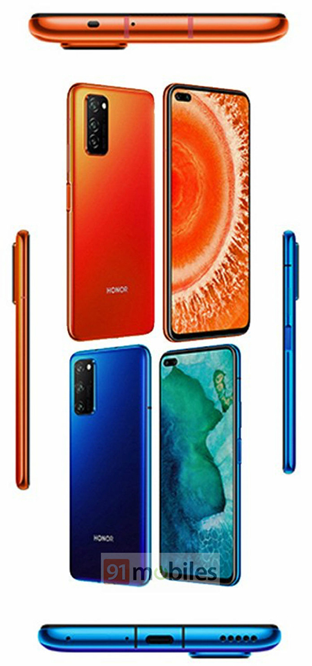 Sforum - Honor-V30-press-renders-watermarked-1 Honor V30 leaked press photo before launch date, confirmed with a punch-hole display, dual selfie camera