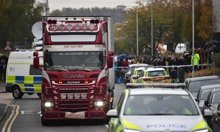 Forensic staff removed a container of 39 people from the scene on October 23. Photo: PA.