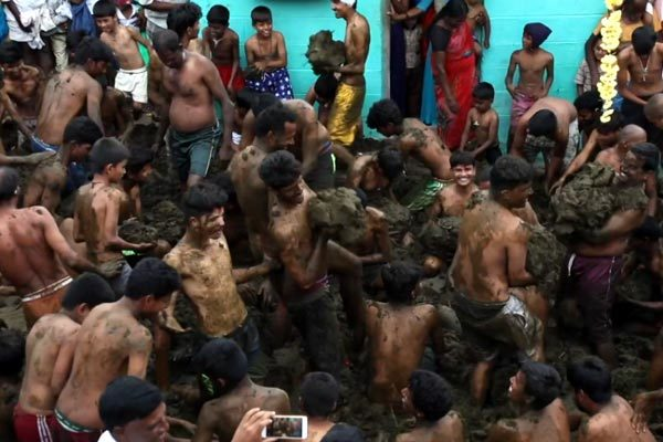 Watch the excited Indian men smear and put cow dung on each other