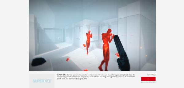 superhot free epic games store 1 600x289 - Free FPS SUPERHOT game unique and very good