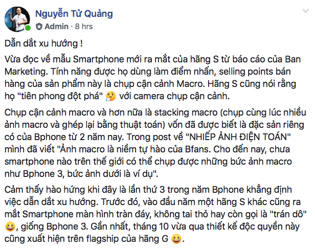 Nguyen Tu Quang: Bphone is a smartphone leading the trend, ahead of both S and G - Picture 1.