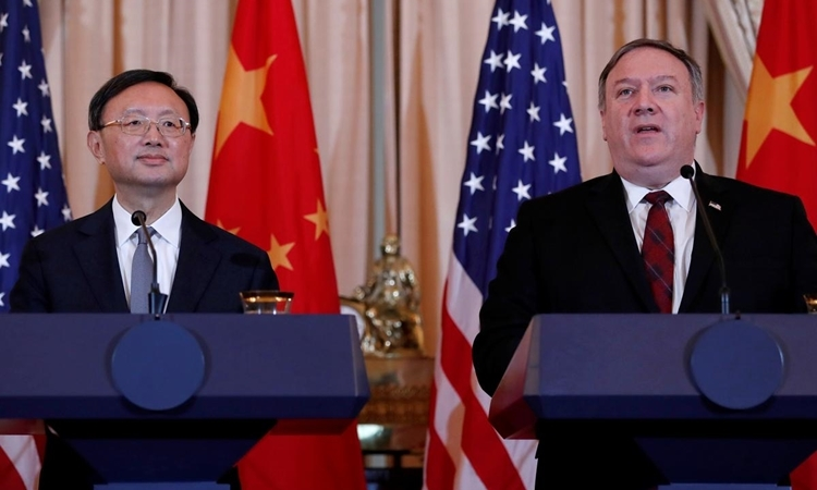 Duong Khiet Tri (left) and Mike Pompeo in the US in November 2018. Photo: Reuters.