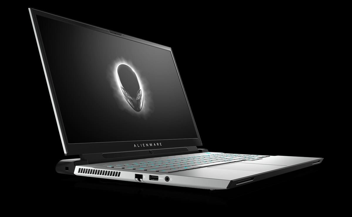 alienware m17 r4 white with tobii faced right