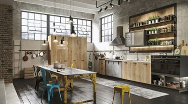 Unique industrial style kitchen room template