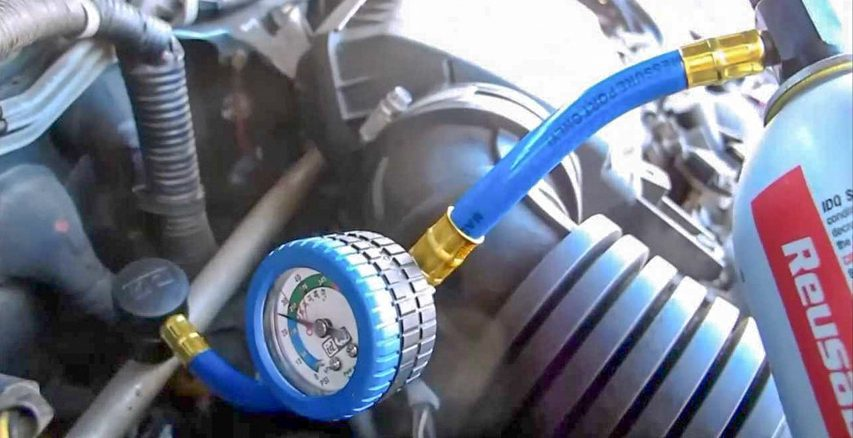 Guide the process of charging air conditioning in a car