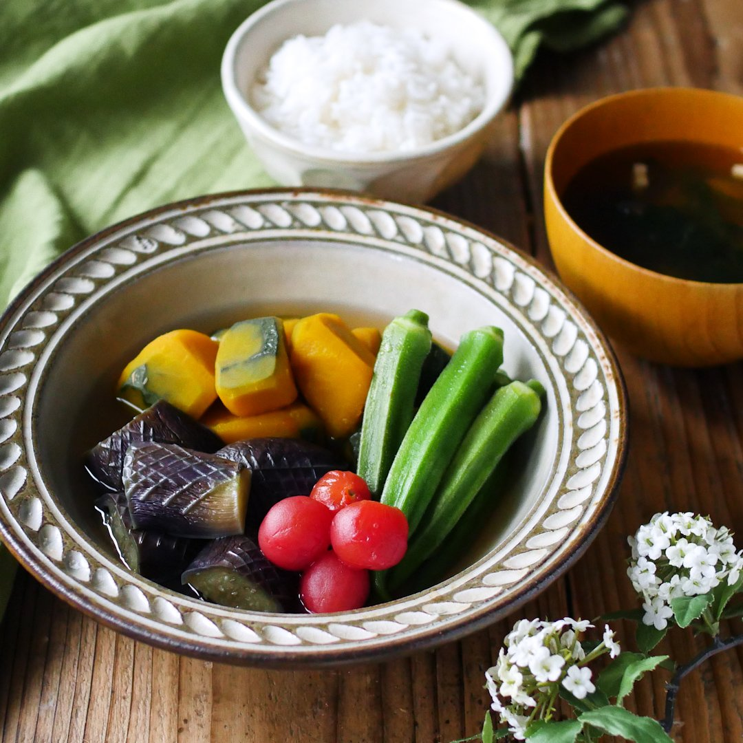 recipe Basics of Japanese food.Cooked summer vegetables