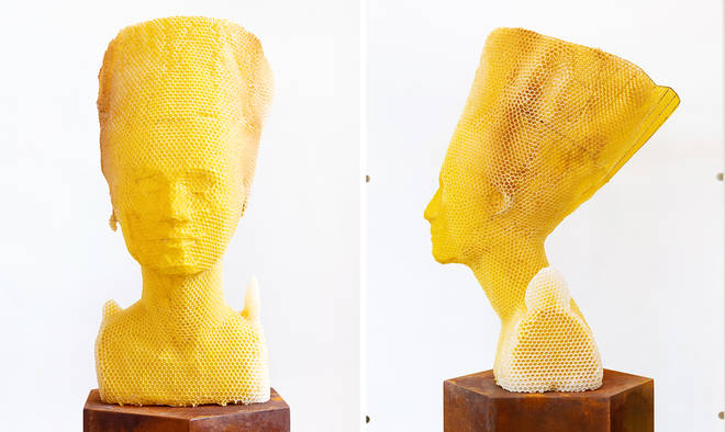 Tomáš Libertíny teamed up with 60,000 bees to recreate the bust of Nefertiti from beeswax and beehive for 3 minutes to read