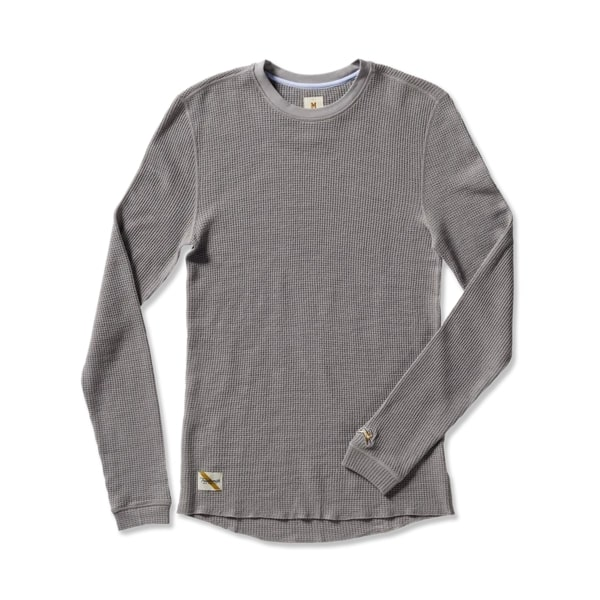 Tracksmith Fells Waffle Layer shirt in grey, best men's thermal