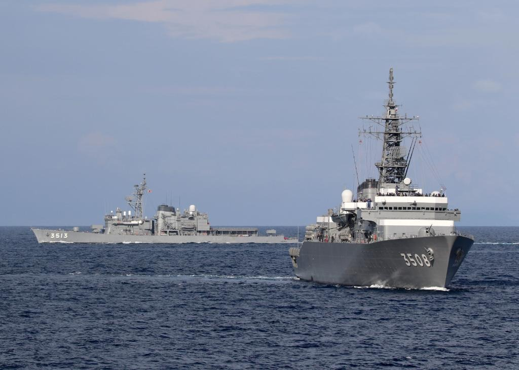 Japanese ships JS Kashima and JS Shimayuki during joint exercises with the US in the South China Sea in June 2020.  Photo: US Navy.