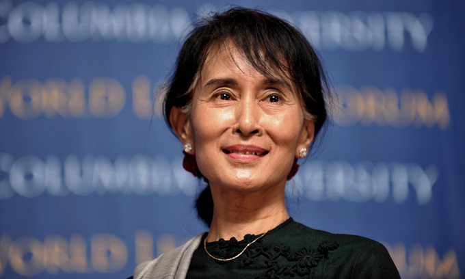 Myanmar State Counselor Aung San Suu Kyi at an event at Columbia University, New York, USA, in September 2012.  Photo: AFP.