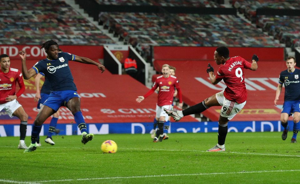 Martial scored in a 9-0 win over Southampton.  Photo: Times