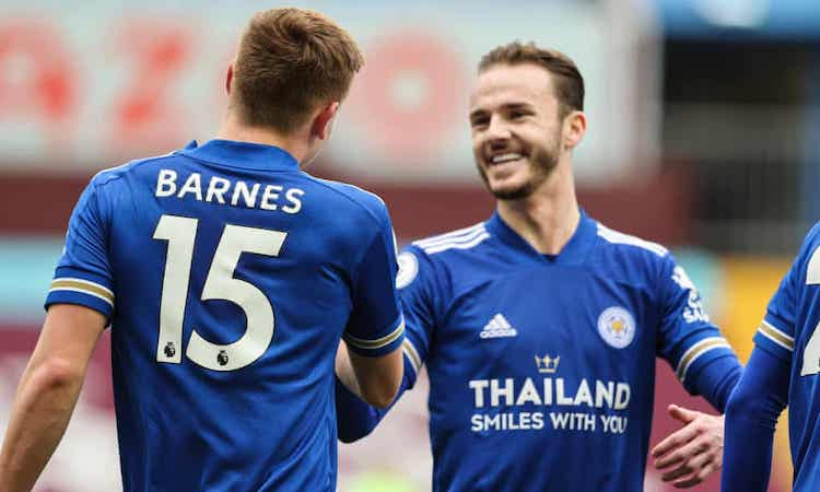 Maddison and Barnes respectively scored, helping Leicester to win three points.  Photo: AMA.