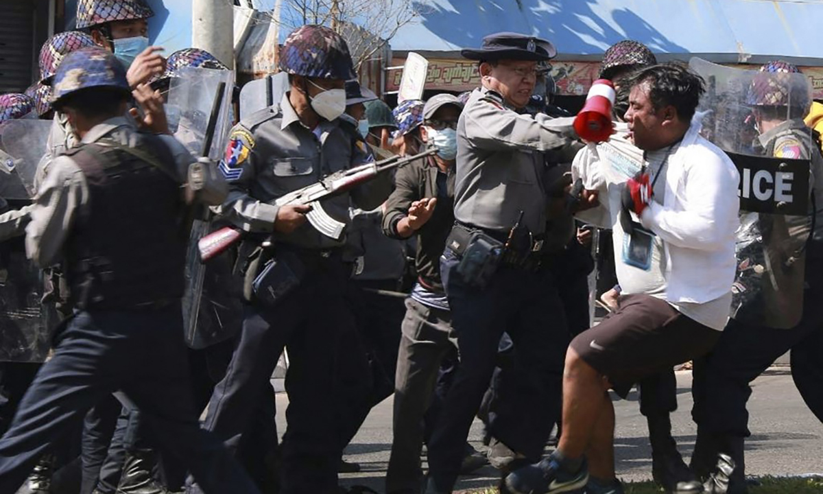 Myanmar police clashed with protesters in the city of Mawlamyine, on February 12.  Photo: AFP.