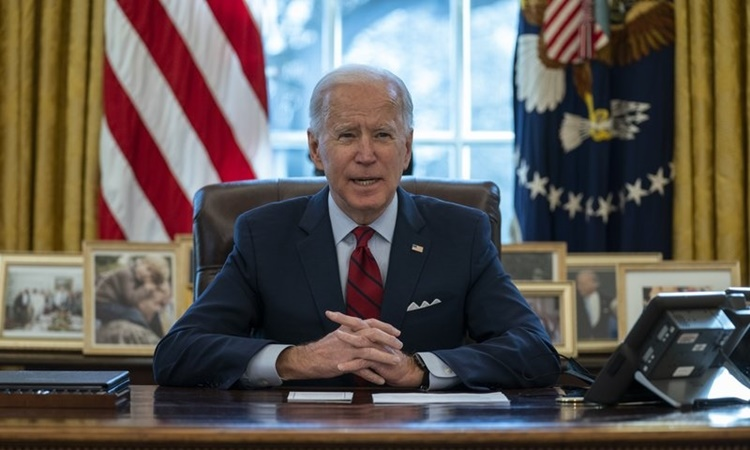 US President Joe Biden at the Oval Office, White House, January 28.  Photo: AP.