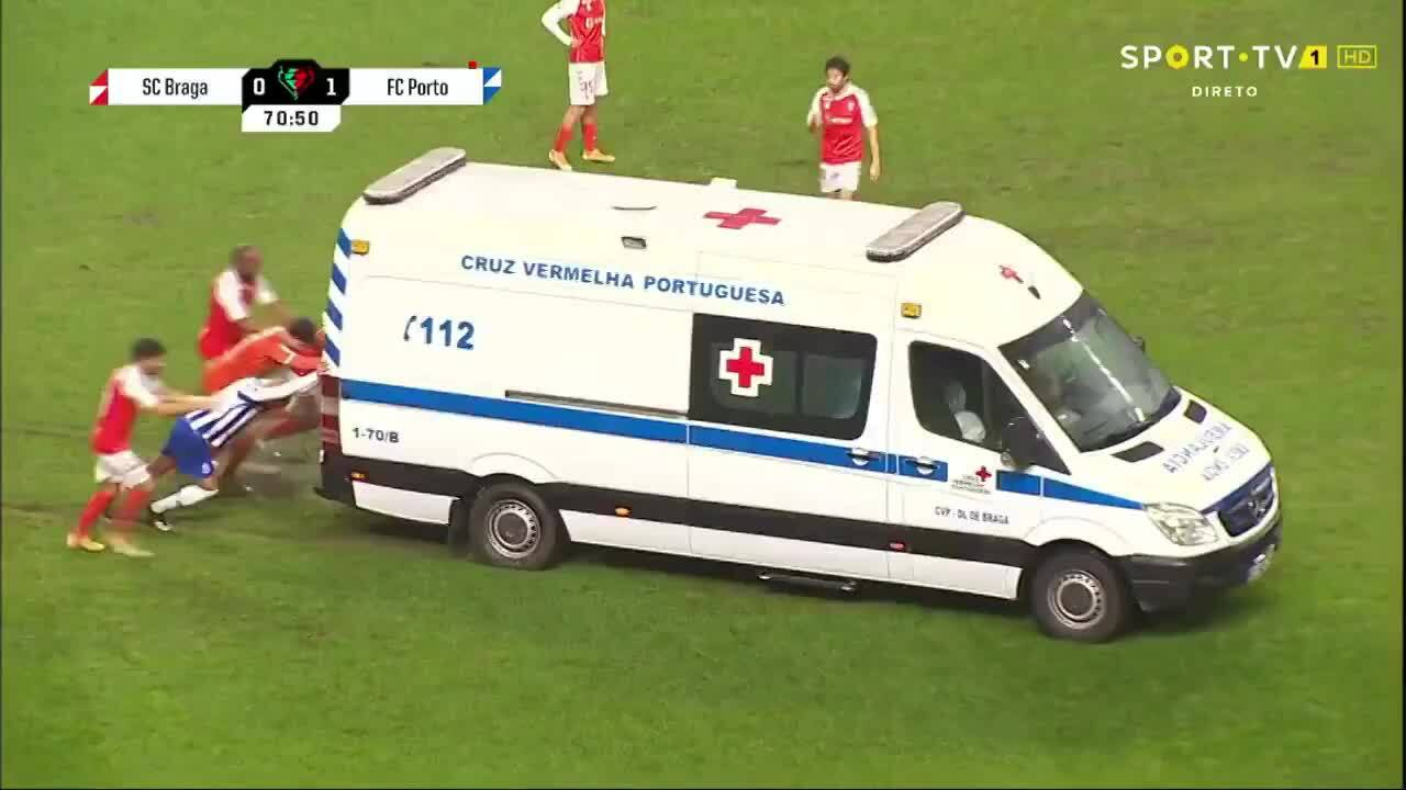 The guardian pushed the ambulance into the field