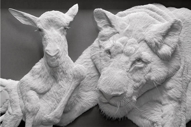 A close-up of Calvin Nicholls' paper collection of exquisitely crafted animal portraits 3 minutes to read