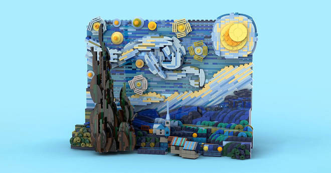 "Vincent Van Gogh's ""Starry Night"" has officially turned into a LEGO set of 1,552 3-minute pieces to read"