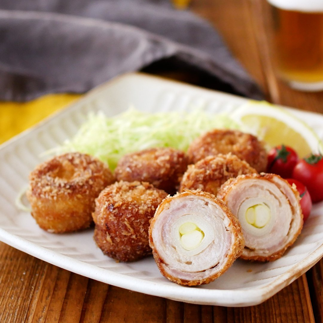 recipe Easy cutlet style.Fried pork rolls with green onions