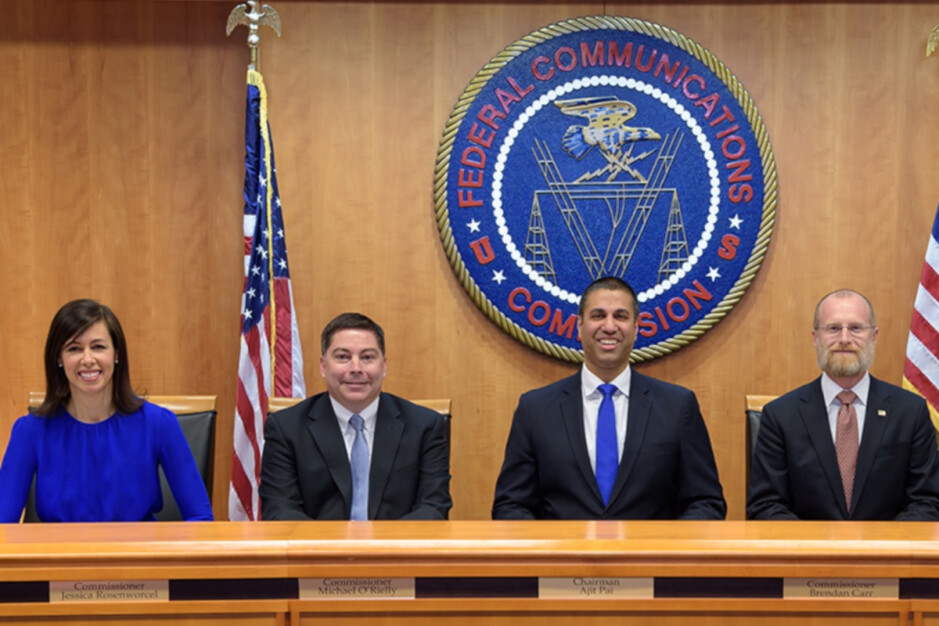 FCC circa 2017 when net neutrality was taken off the books. Current acting Chairwoman Jessica Rosenworcel is at left - AT&T gave out misleading information last week about its handling of California's net neutrality law
