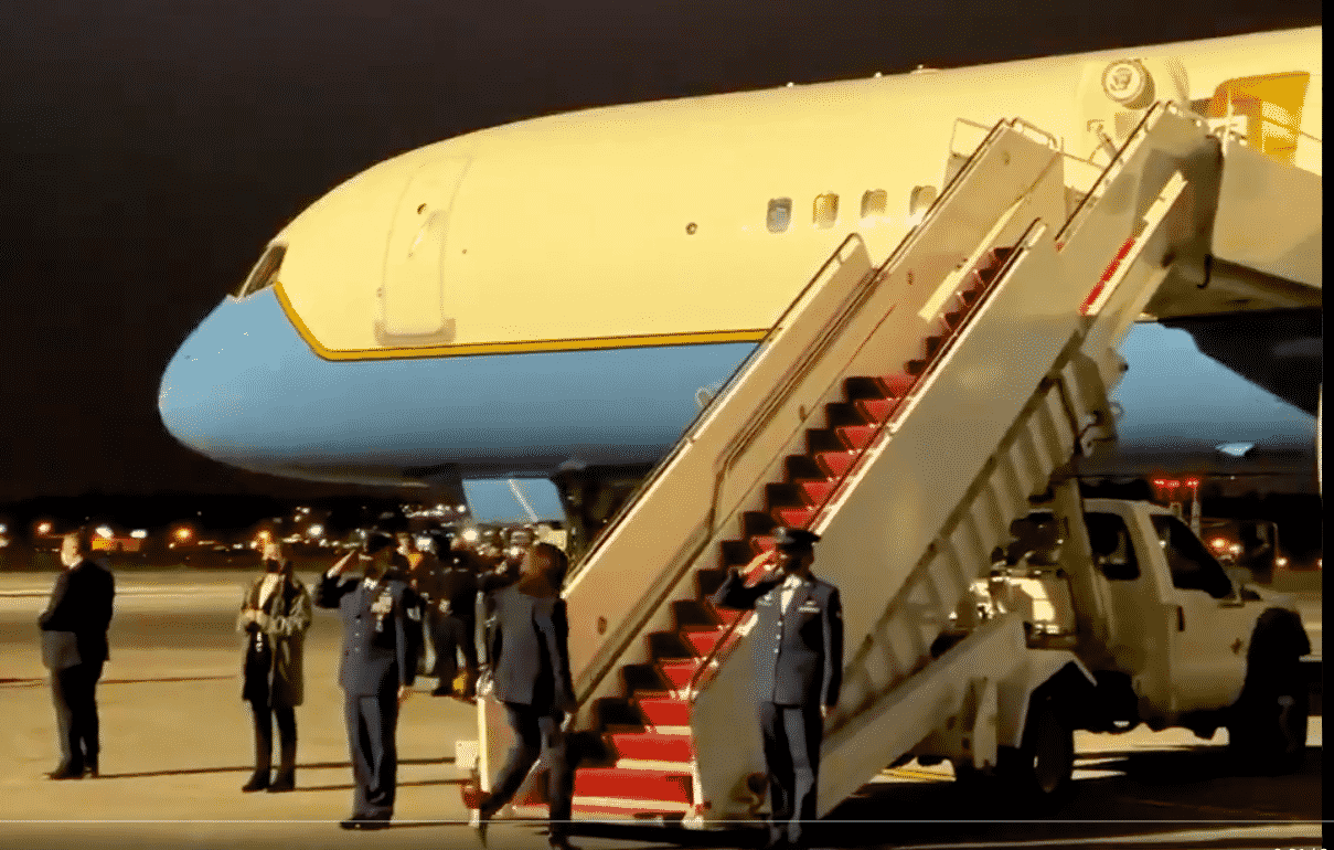 Ms. Harris was criticized for continuing to not salute honor guardians when she entered Air Force Two