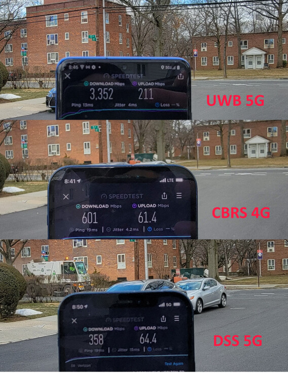 Verizon's current CBRS 4G vs 5G Ultrawide Band vs 5G DSS network technology speeds - Verizon's new 4G bands beat its 5G network speeds, and iPhones may be to blame
