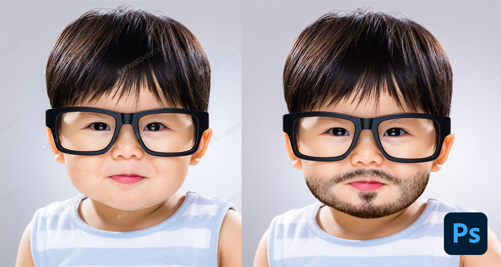 How to join beards for images in Photoshop