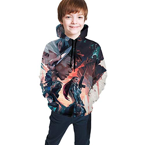 Qihuo Valorant Sweater Hoodies for Boys Girls Kids, Applicable in Autumn and Winter, Super Soft Black