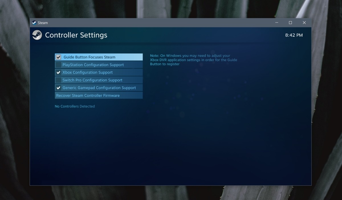 Turn on the Xbox Configuration Support option.