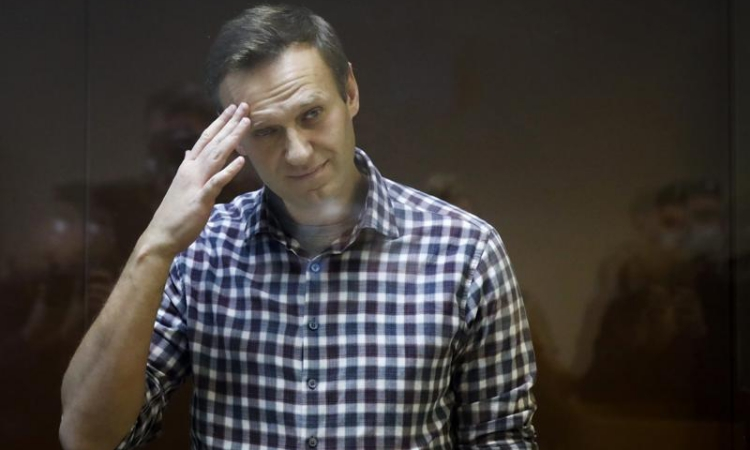 Russian opposition activist Alexei Navalny at trial in Moscow on February 20.  Photo: AP.