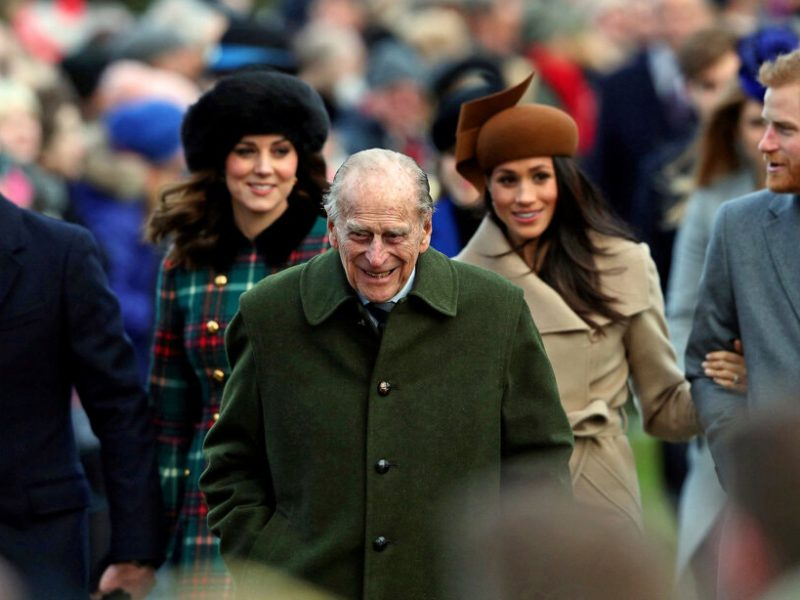 Prince Philip (center) with Prince William (leftmost) and Harry and Meghan at Christmas 2017. Photo: Reuters.