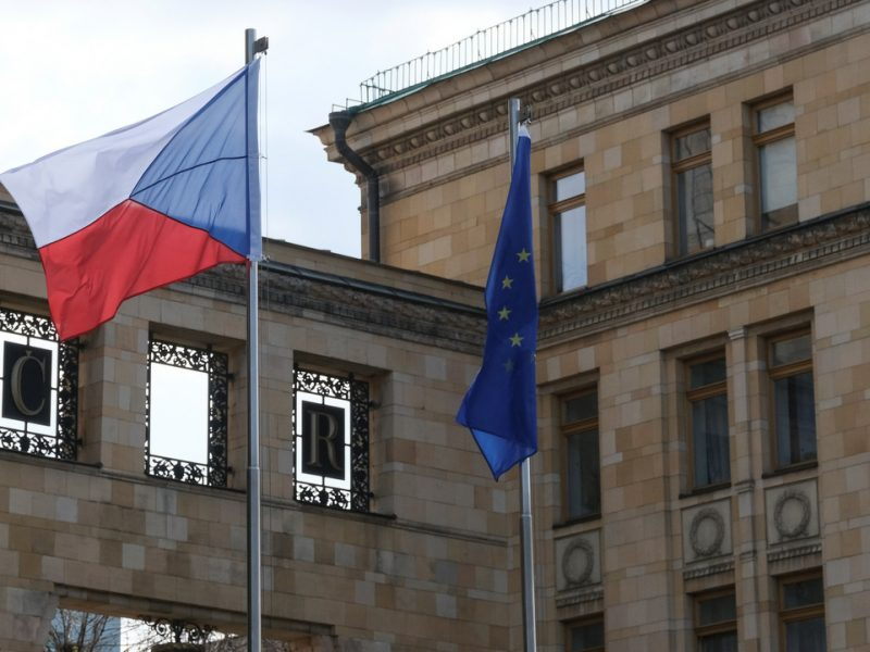 Czech flags and the European Union in the Czech embassy in Moscow on April 18.  Photo: Reuters.