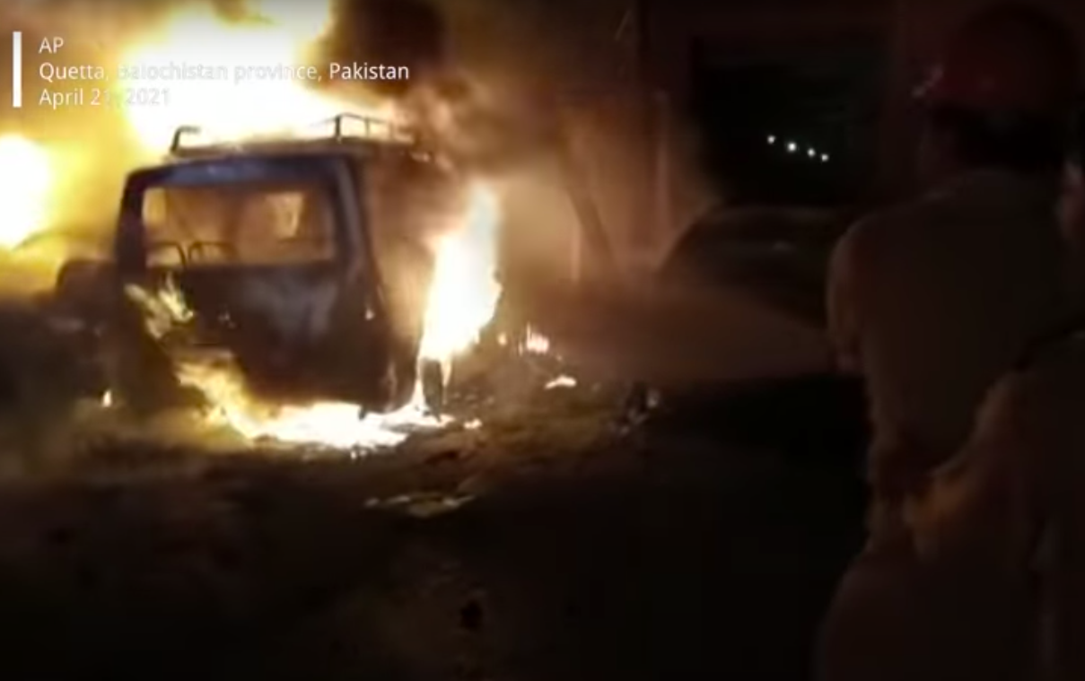 Pakistan: The car containing the bomb exploded at the hotel where the Chinese Ambassador was located, killing 4 people