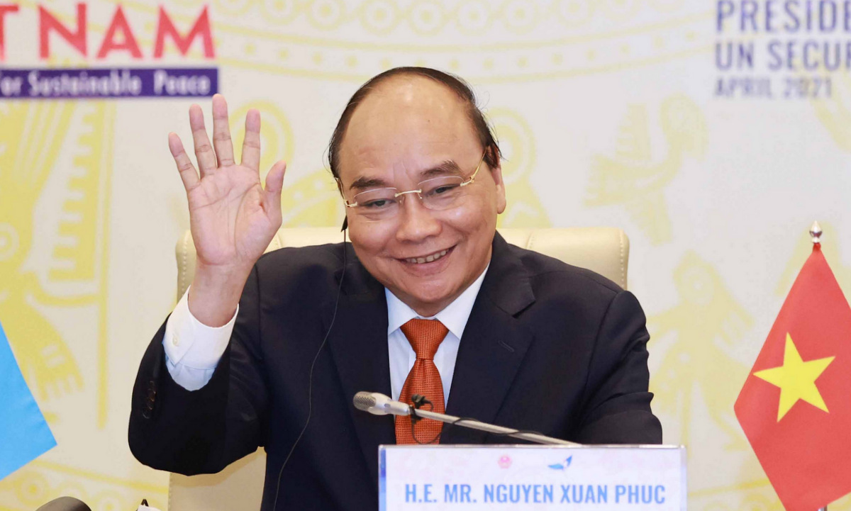 State President Nguyen Xuan Phuc during the discussion session on April 19.  Photo: Ministry of Foreign Affairs.