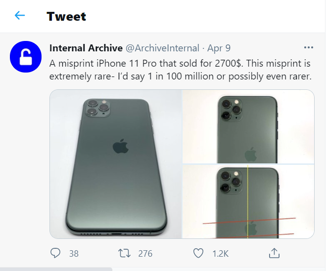 Would you spend 62 million to buy an iPhone 12 Pro Max with the logo deviated?