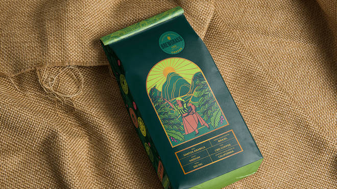 Coffee packaging shows the windy green lands of Brazil and California for 3 minutes