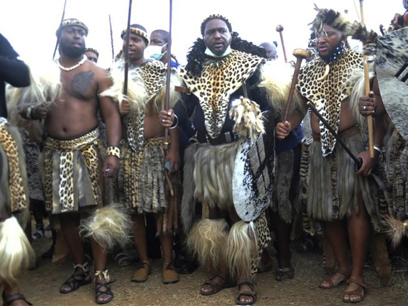 Misuzulu (third from right) with Zulu warriors dressed in traditional costumes at a ceremony at the KwaKhangelamankengane Royal Palace, South Africa, May 7.  Photo: AP.