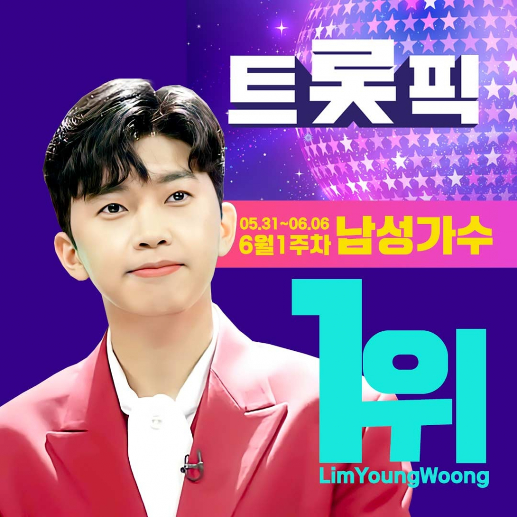 'June also Lim Young-woong Cheonha' Lim Young-woong, Trotpic June 1st week male singer 1st.. Recorded 16.17 million votes[★NEWSing]