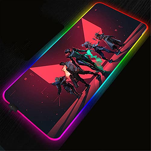 Mouse Pads Valorant Anime RGB Mouse pad LED Speed Large Gamers Desk Mat LED Backlit Mat 24x12x0.15 inch