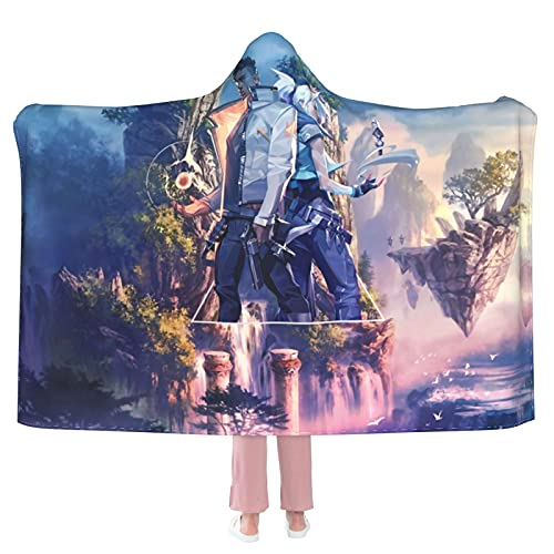 """Valorant Game Art Hooded Blanket Cloak Cape Shawl Soft and Comfortable Wrap Blanket for Living Room Camping Travel 50""""X40"""""""