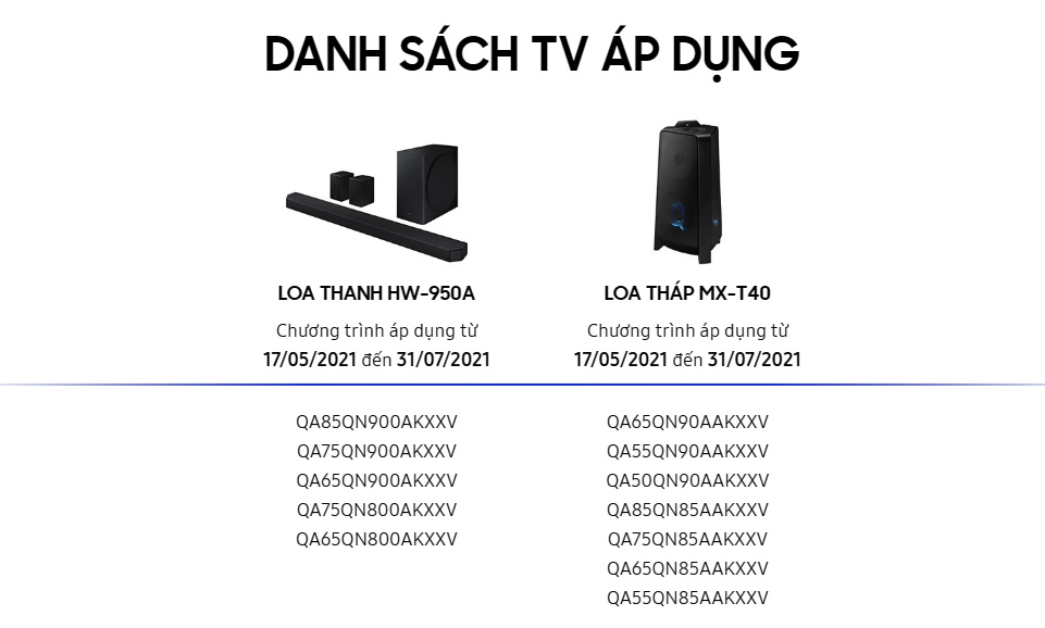 Samsung plays big: giving away speakers up to 34 million dong for those who buy 55-inch TVs or more