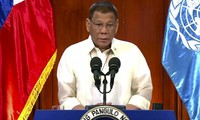 Philippine President Duterte in a videotaped address to the United Nations.  (Photo: AP)