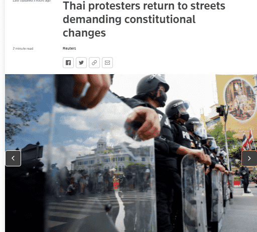 Thai people again protest to demand the prime minister's resignation, change the constitution